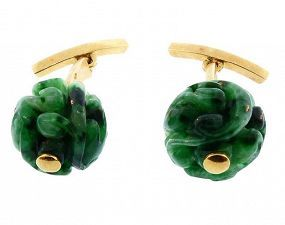 Pierre Cardin 18K Gold & Carved Jade Cufflinks