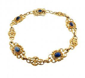 French Art Nouveau 18K Gold & Cabochon Sapphire Bracelet