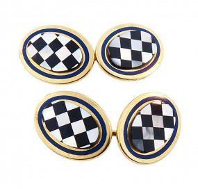 Tiffany & Co. 18K Gold, Enamel & Hardstone Inlay Cufflinks