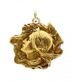 18K Gold French Art Nouveau Pendant Lucien Janvier