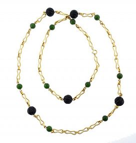 1960s French 18K Gold, Onyx & Nephrite Jade Long Chain Necklace