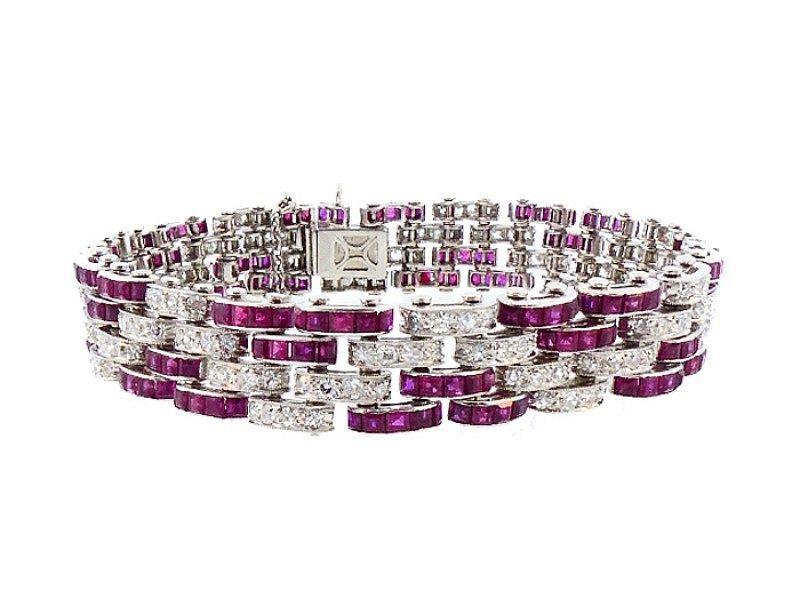 French Art Deco Platinum, 19-Carat Diamond & Ruby Bracelet