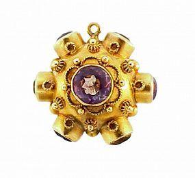 18K Gold Venetian Etruscan Revival Amethyst & Citrine Fob Charm