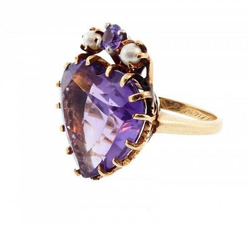 Vintage 14K Gold, Amethyst & Pearl Heart Ring