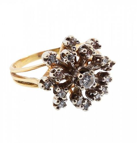 1960s 14K Gold & Diamond Cluster Snowflake Cocktail Ring
