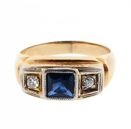 Gentleman's Art Deco 14K Gold, Sapphire & Diamond Ring