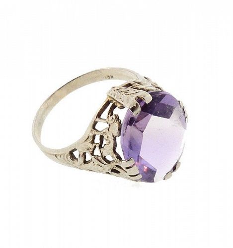 Edwardian 10K White Gold Filigree & Amethyst Ring