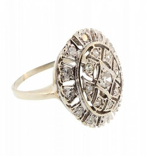 Edwardian 14K White Gold & Diamond Ring