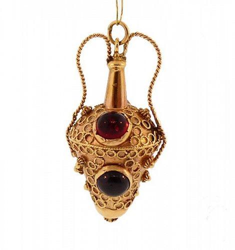 Venetian Etruscan 18K Gold, Citrine & Garnet Amphora-Form Fob/Charm