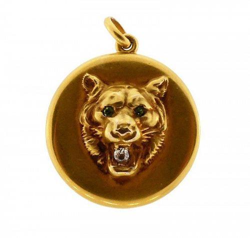 Victorian 10K Gold, Diamond & Demantoid Garnet Lion Locket