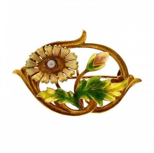 Art Nouveau 14K Gold, Enamel & Pearl Daisy Pin