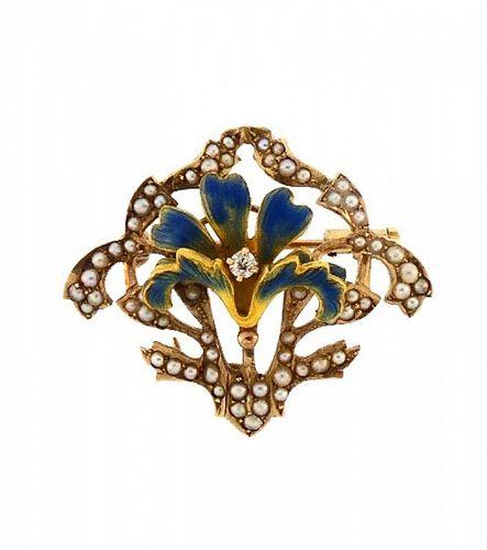 Art Nouveau 14K Gold, Enamel, Diamond & Pearl Lily Flower Pin