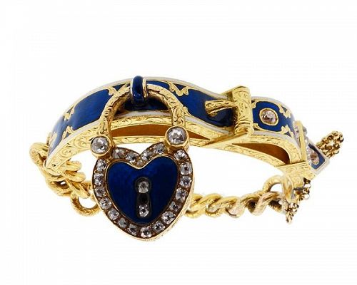 Victorian 18K Gold, Enamel, Diamond Padlock Bangle & Chain Bracelet