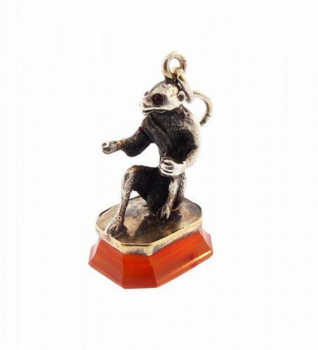 Victorian 18K Gold, Silver, Garnet & Carnelian Monkey Fob Seal