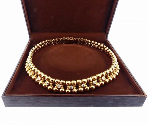 French Retro 18K Gold & Diamond Necklace