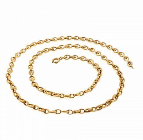 French 18K Gold Renaissance Revival Chain Necklace