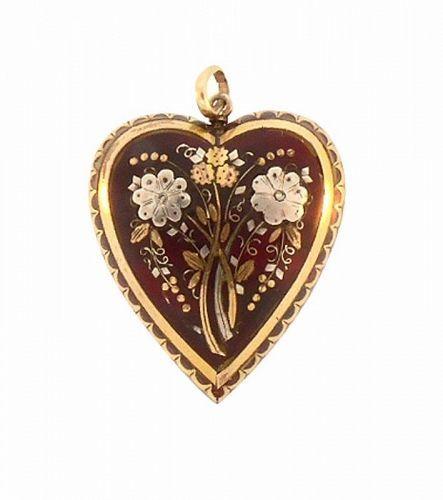 Victorian Gold & Silver Tortoiseshell Pique Heart Pendant