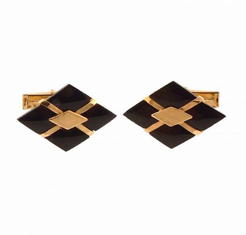 14K Yellow Gold & Onyx Cufflinks