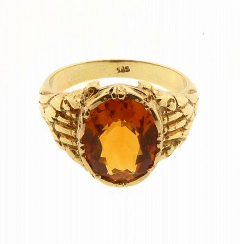 Art Nouveau 14K Gold & Citrine Ring