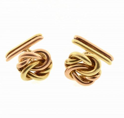 Retro 14K Yellow & Rose Gold Knot Cufflinks