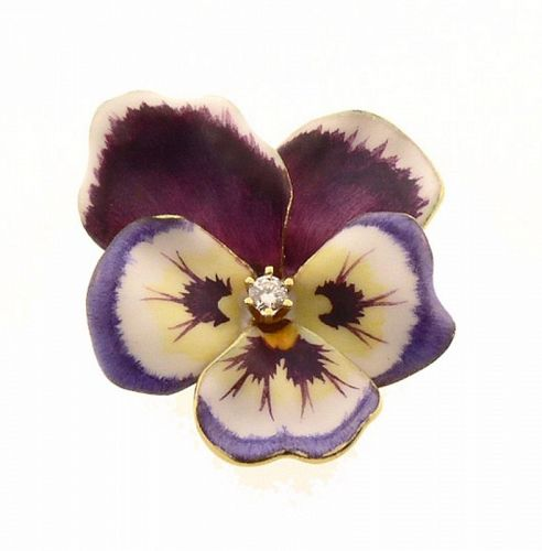 Art Nouveau 14K Gold, Enamel & Diamond Pansy Pin
