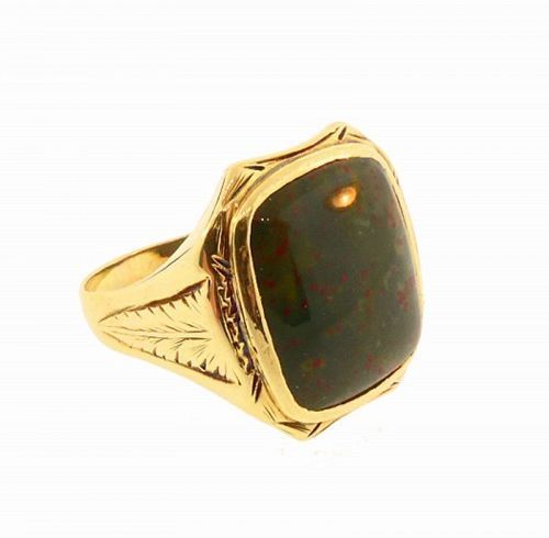 Art Deco Gentleman�s 14K Gold & Bloodstone Egyptian Revival Ring