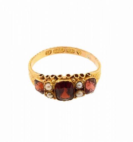 Victorian 15K Gold Spessartite Garnet & Pearl Ring