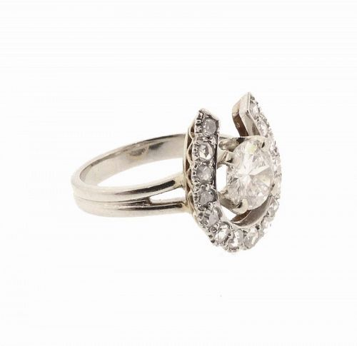 .77 Carat Diamond Solitaire Horseshoe 14K Yellow & White Gold Ring