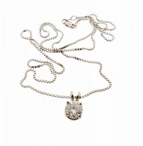 1.04 Ct Diamond & 14K White Gold Solitaire Pendant