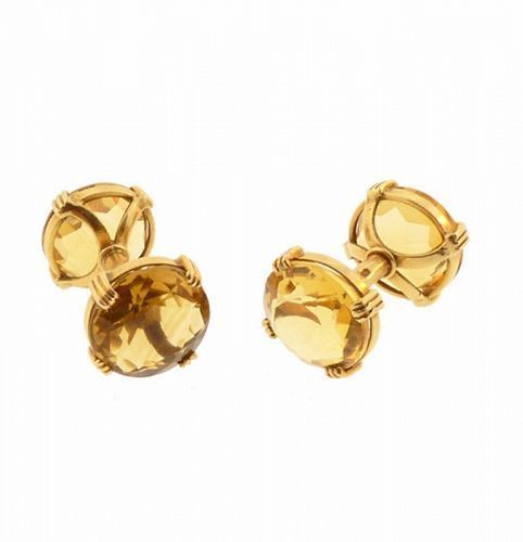French 18K Yellow Gold & Citrine Cufflinks