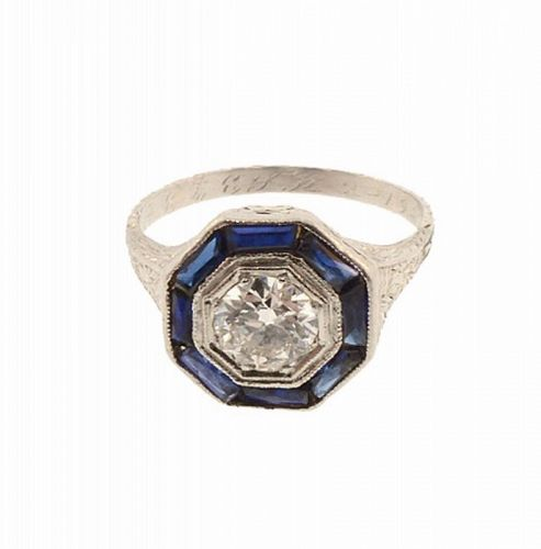 Art Deco Platinum Filigree, Diamond & Sapphire Ring