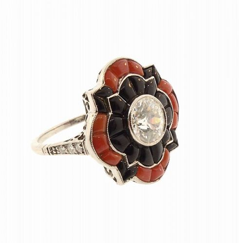 Art Deco Platinum Filigree, Diamond, Coral & Onyx Ring