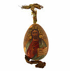 Imperial Russian Polychrome Christ Pantocrator Wooden Easter Egg