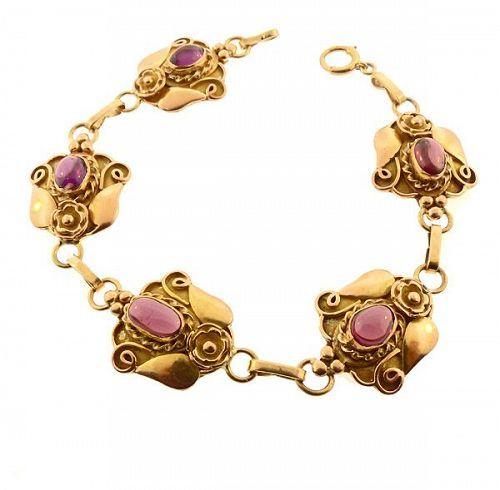 Art Nouveau 14K Yellow Gold Rhodolite Garnet Skonvirke-Style Bracelet