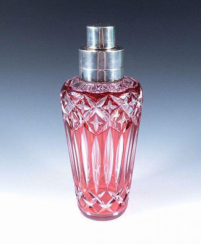 Art Deco Cranberry Overlay Cut Glass Cocktail Shaker