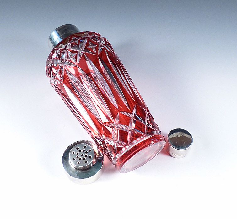 Art Deco Cranberry Overlay Cut Glass Cocktail Shaker