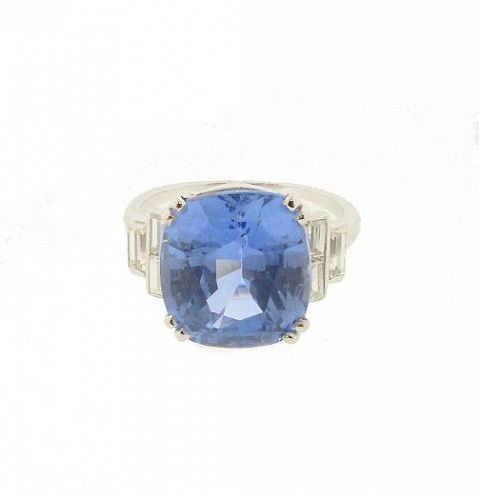 Art Deco Platinum, Diamond & 9-ct Ceylon Sapphire Ring
