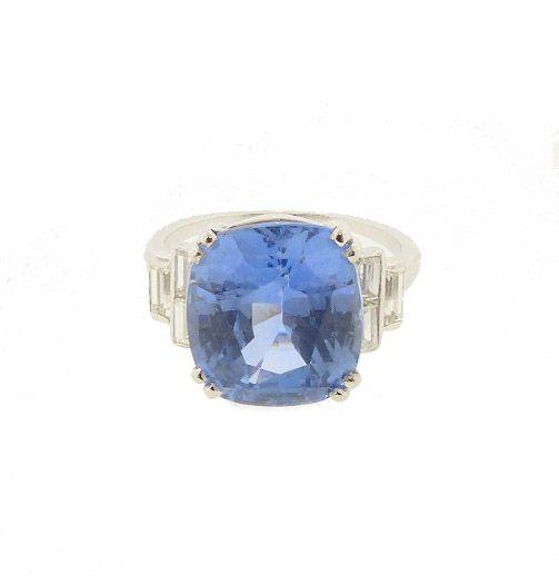 Art Deco Platinum, Diamond & 9-ct Ceylon Sapphire Ring