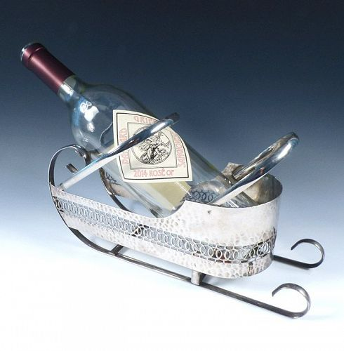 Art Deco Chrome Wine Bottle Sled