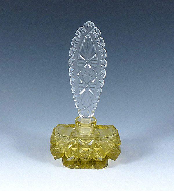 Art Deco Czechoslovakia Cut Yellow Crystal Perfume Bottle