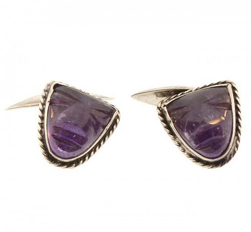 Mexican Silver & Carved Amethyst Aztec Mask Cufflinks