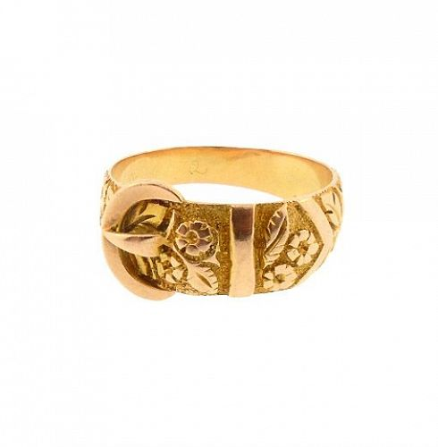 Victorian 9K Gold Engraved Buckle Ring