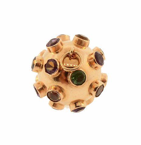 H Stern 18K Gold Multi-Gemstone Sputnik Charm Pendant