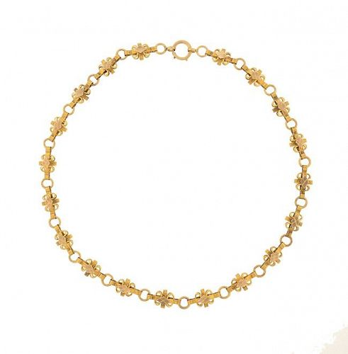 Victorian 14K Yellow Gold Fancy Link Chain Necklace