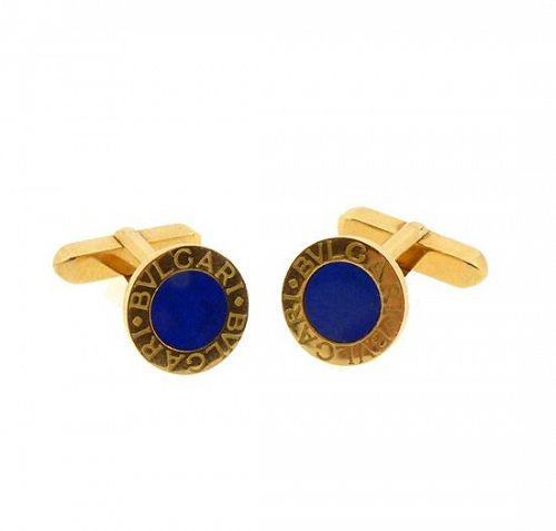 Bvlgari Bvlgari 18K Gold & Lapiz Lazuli Cufflinks