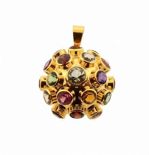 H Stern 18K Gold Multi-Gemstone Sputnik Pendant