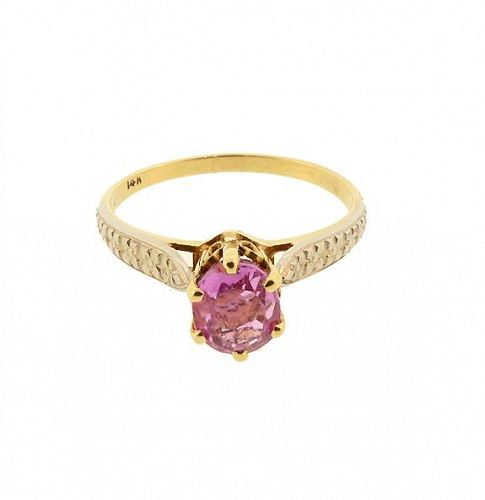14K Gold & Pink Sapphire Solitaire Ring