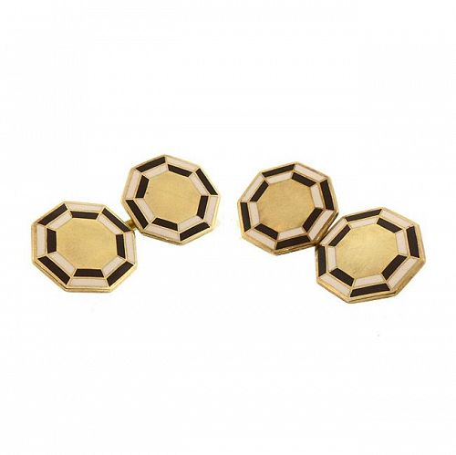 George Street Art Deco 14K Gold Enameled Double-Sided Cufflinks