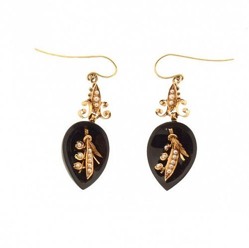 Victorian 14K Gold, Onyx & Seed Pearl Earrings