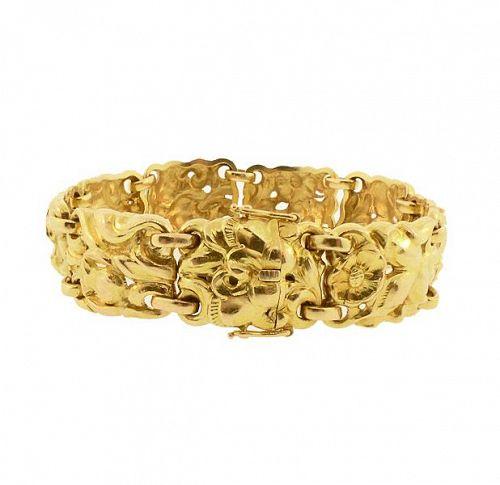 Pierrre Baltensperger 18K Gold Sculptural Floral Bracelet